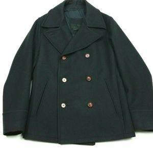 PRADA 100% Wool Black Peacoat Pea Coat Medium 48